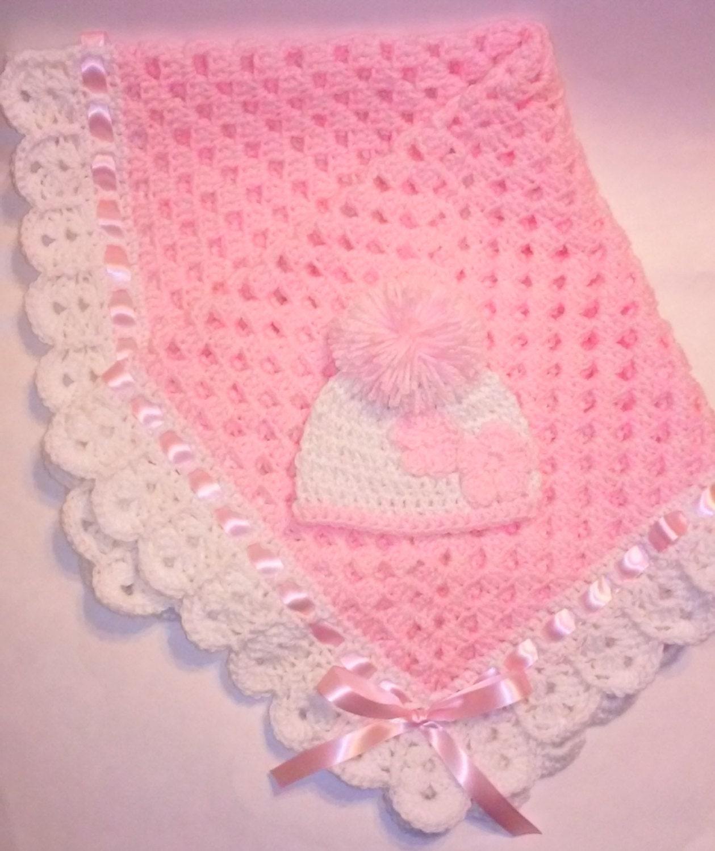 Crochet Granny Square Beanie Pattern : Crochet granny square pink baby blanket set baby beanie hat