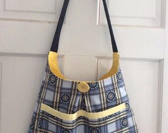 Gray and Yellow Hobo Bag