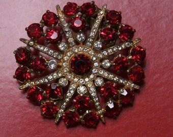 SALE!! Vintage Rhinestone Dress Clip--Large Red Starburst