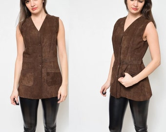 Vintage 70's Chocolate Brown Suede Leather Long Vest