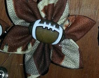 Football kanzashi flower retractable badge holder