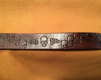 """Leather bracelet 1"""" wide with Skulls and Gears (Steam Punk)"""