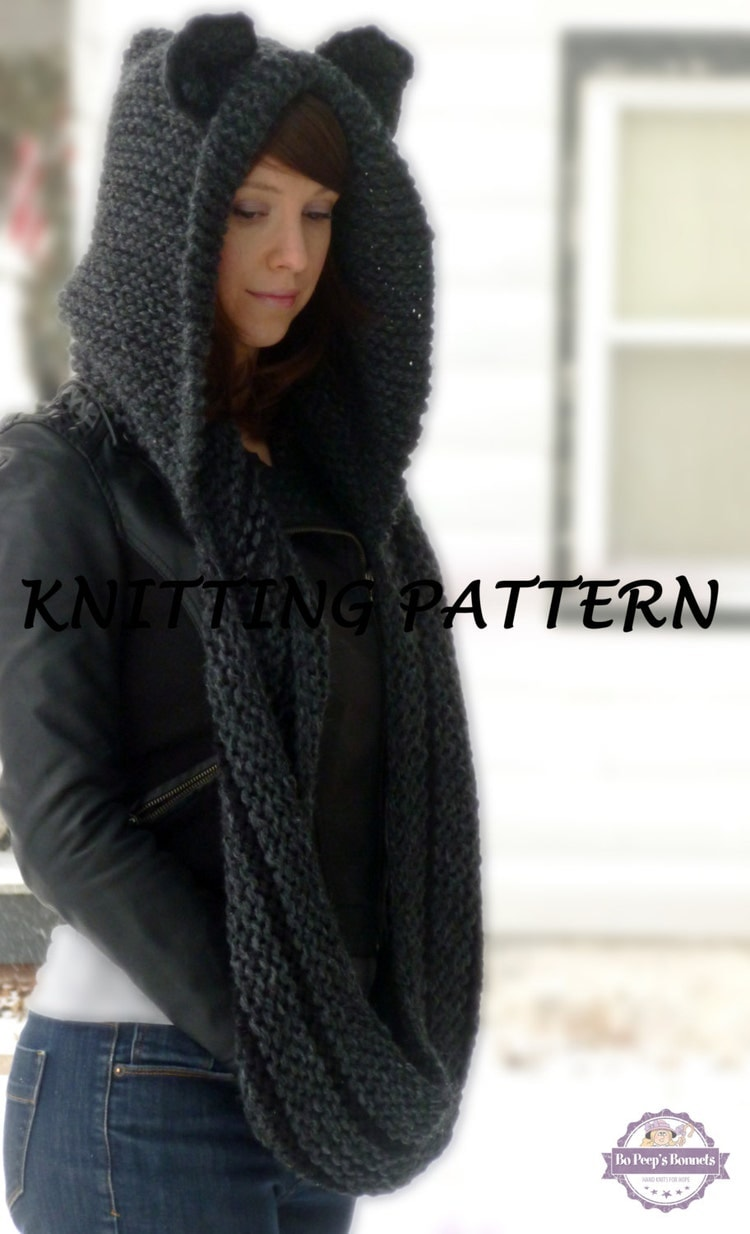 Hooded Cowl Knit Pattern : KNITTING PATTERN Hooded Cat Cowl Cat Ears Hooded by BoPeepsBonnets