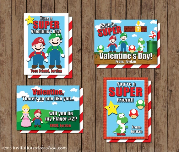 Mario Brothers Valentine Cards PRINTABLE Personalized 3 – Mario Bros Valentine Cards