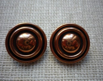 Vintage Renoir Circular Copper Clip On Earrings