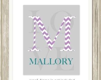 Monogram baby wall art, monogram nursery art, baby girl nursery, baby boy nursery, baby name wall art, girls room decor, custom colors