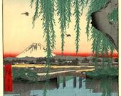 Japanese art, landscapes art prints, Yatsumi Bridge Views of Edo FINE ART PRINT, mount Fuji woodblock, wall posters, old tokyo landscapes