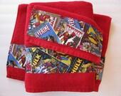 Comic Book Bath towels, Comics, Iron Man, hand towel, Spider-man, custom towel, Hulk bathroom, Captain America, boys bathroom, Marvel Comics