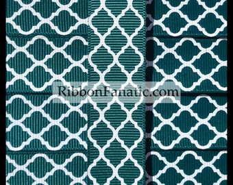 "5 yds 7/8"" Hunter Green Quatrefoil Moroccan Tile Lattice Grosgrain Ribbon"