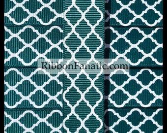"5 yds 7/8"" Hunter Green Quatrefoil Moroccan Tile Lattice Grosgrain Ribbon"