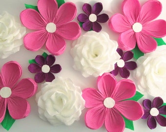 12 Paper Flowers/ Wall Flowers/ Arch Flowers/ Wedding Decoration/ Large Flowers/ Party Decoration/ Baby Shower Decorations/ Nursery Wall