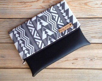 Black and White Tribal Print Fold Over Clutch, tribal clutch, black and white clutch