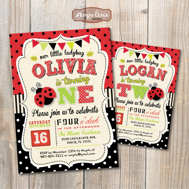 Ladybug Birthday Party Invitation. DIY Card. Digital Printable