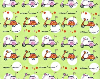 Vespa Scooters Fabric - Now We're Goin Places - Monica Lee for Timeless Treasures - Green Scooters - HALF YARD
