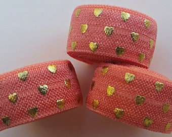 5/8 CORAL with Gold Polka Hearts Fold Over Elastic