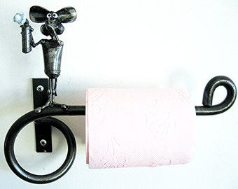 Toilet paper Holder with Mouse and Deodorant spray sculpture made from recycled Steel