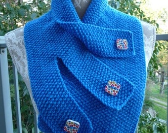 Moss Stitch Buttoned Neck-warmer  -  1460