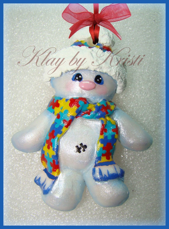 Autism Awareness Christmas Snowman Ornament with Puzzle Piece