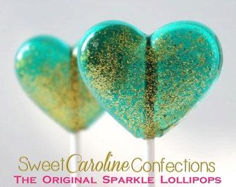 Teal Wedding Favors, Heart Lollipops, Gold Favors, Gold Wedding Favor, Heart Candy, Lollipops, Sweet Caroline Confections-  Set of Six