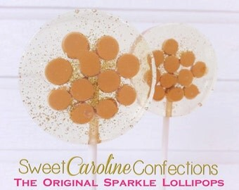 Butterscotch Lollipops, Sweet Filled Butterscotch Lollipops, Hard Candy Lollipops, Wedding Favors, Caramel Candy, Sparkle-Set of Six