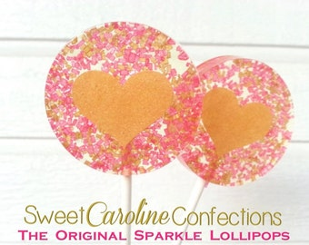 Pink and Gold Wedding Favors, Heart Lollipops, Gold Favors, Gold Wedding Favor, Lollipops, Sweet Caroline Confections-Set of Six