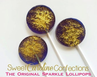Navy and Gold Wedding Favors, Nautical Favors, Hard Candy Lollipops, Nautical Theme, Candy Lollipop, Sparkle Lollipops-Set of Six