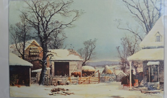 Vintage Winter Picture, 1951 Currier & Ives Calendar Page, Farm in Winter Print, George H. Durrie Winter Scene, Collectors Item