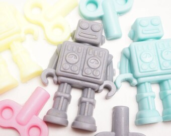 10 Robot  Soap  Party Favors With or without tags and ribbns