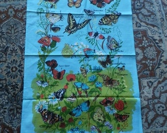 Vintage Butterflies Cotton Tea Towel British Made - Unused