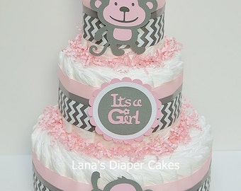 Pink And Gray Monkey Diaper cake  Monkey Baby Shower Centerpiece