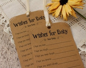 Set of 12 Baby Shower Wishing Tree Tags - Wishes for Baby Neutral Kraft Paper Vintage Rustic