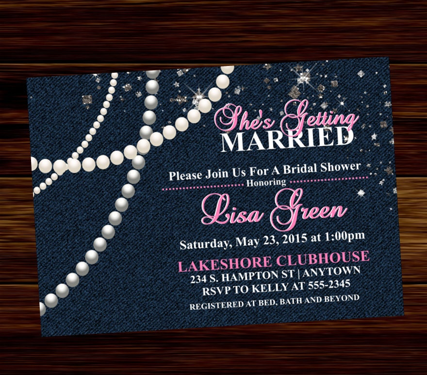 Denim Bridal Shower Invitation Diamonds and Pearls Digital