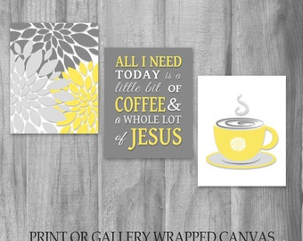 Kitchen Wall Art Set All I Need Is Coffee And Jesus Saying Christian Art Kitchen Decor