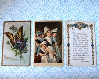 3 Vintage Post Cards, Congratulations & Best Wishes: Pansies, Violets, Butterflies, Cottage, Orphans in Church