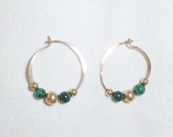 14k Vintage Yellow Gold Malachite Ball Sphere Round Hoop Pierced Earrings Custom Green Karat 14kt Big
