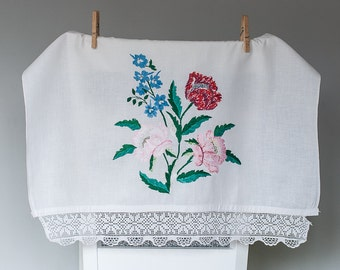 Vintage Hand Embroidered Curtain Panel, Rare Ukrainian Vintage, Floral Embroidery, Shabby Chic Decor
