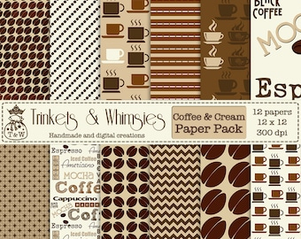 Coffee and Cream Digital Scrapbook Papers - Instant Download