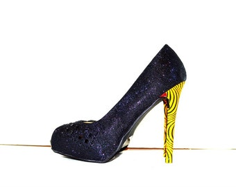 Black & African Print contrasted Luxury bridal heels, African Ankara Fabric Platform Shoes -Platform Wedding Shoes -High Heels - Platforms