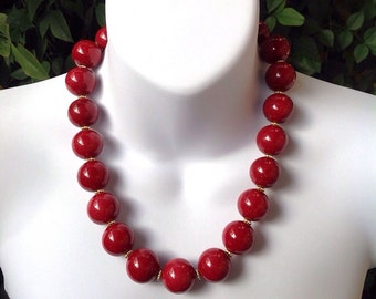 Cherry Red Jade Necklace. Red Mountain Jade Necklace. Chunky Jade Necklace.