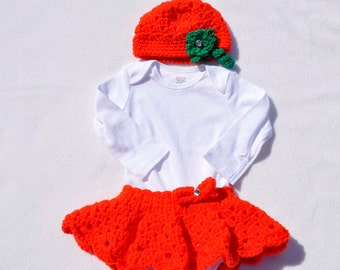 Infant, Baby, Size 6 month, Fall Onsie Skirt and Hat Set, Pumpkin Motif, Twins, Baby Shower, Gift, Present, Orange, Green