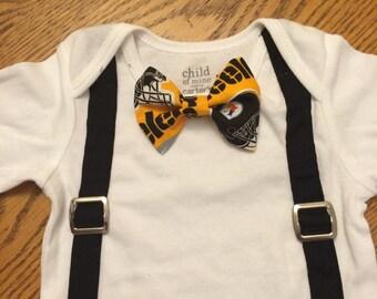 Steeler bow tie with suspenders onesie or tshirt