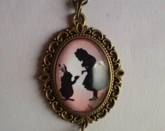 alice in wonderland picture pendant necklace