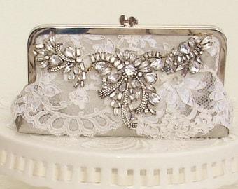 Silver Handbag / Glam Wedding / Romantic Wedding / Silver Wedding / Rhinestone Wedding Clutch