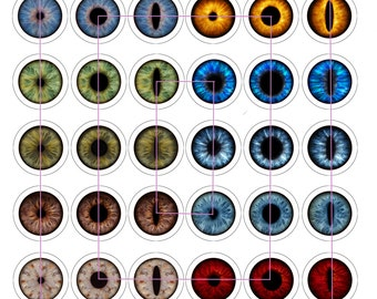 Unique Eyes Digital Collage Sheet, 42 1 inch round, 25mm, Glass Tiles, Resin, Bottlecap