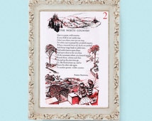 1960s The North Country Inspirational Poem by Eleanor FarjeonRobert Browning Vintage Full Page Childrens Book Illustration Page