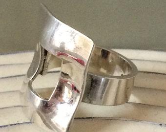 Modernist sterling ring size 8.75