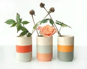 Mothers Day Gift Set of 3 Painted Wooden Vases Home Decor orange