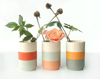 Set of 3 Painted Wooden Vases Home Decor orange