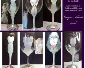 Wedding Dress Wine Glass Bride bridesmaid
