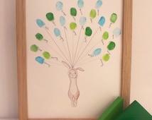 Baby shower Keepsake art, Rabbit holding thumb/fingerprint balloons, Baby shower activity, nursery art, baby decor,custom art  A4or8x10ir